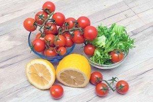 salad ingredients cherry tomatoes, lemons