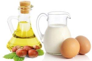 hazelnuts, oil, cream, egg