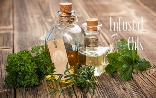 bottles of oil and herbs
