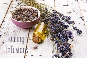 dried lavender and oil bottle