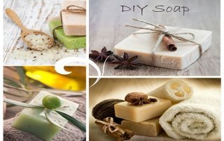 collage of natural soaps