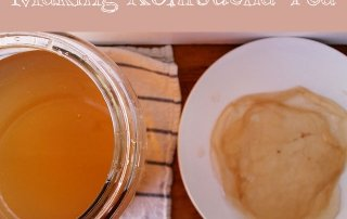 glass jar of kombucha and bowl with SCOBY