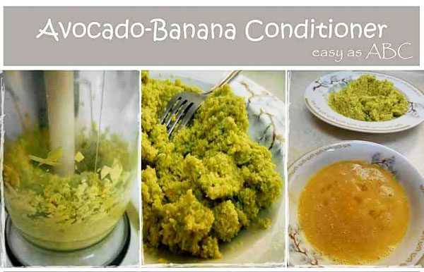 ingredients for banana avocado conditioner
