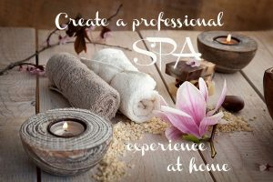 spa experience, towels, candles, flowers