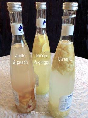 bottles of kefir with fruit