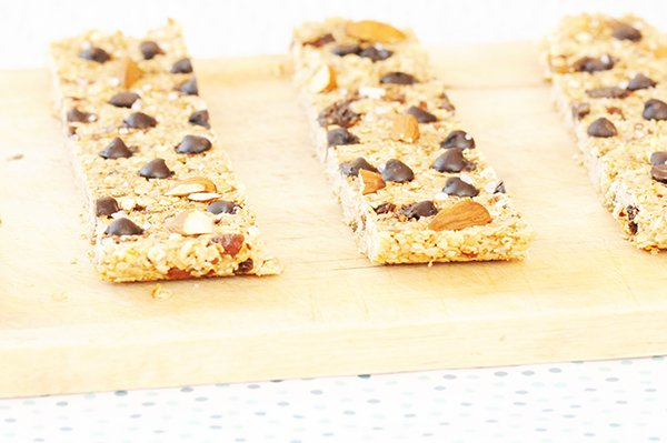 muesli bars on wooden board