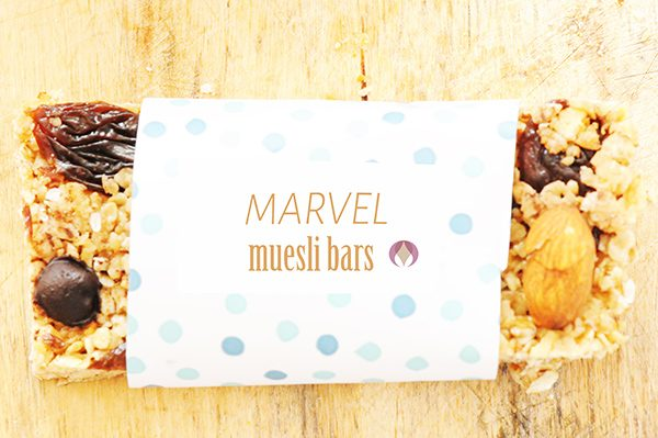 muesli bar in colourful wrapper