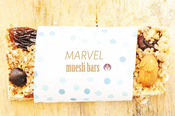 muesli bar in colourful wrapper