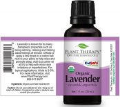bottle of plant therapy organic lavender oil showing full label