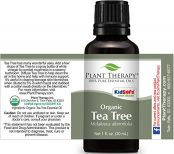 bottle of tea tree oil showing full label
