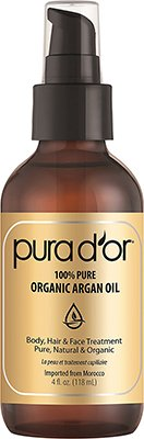 bottle of pura d'or argan oil