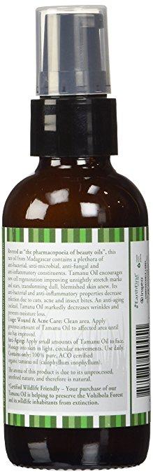 bottle of tamanu oil showing back label